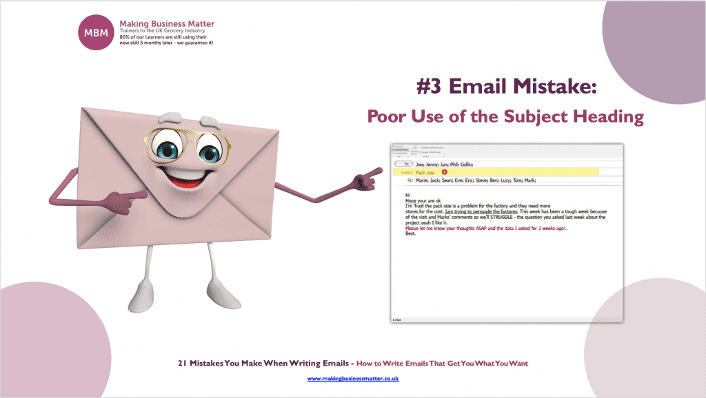 MBM infographic with cartoon letter with face titled #3 Email Mistake