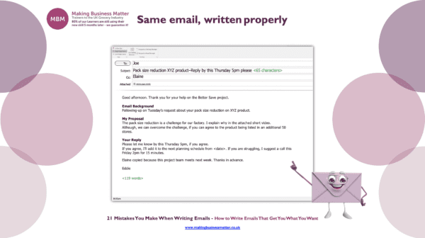 An image example of an email that's written properly