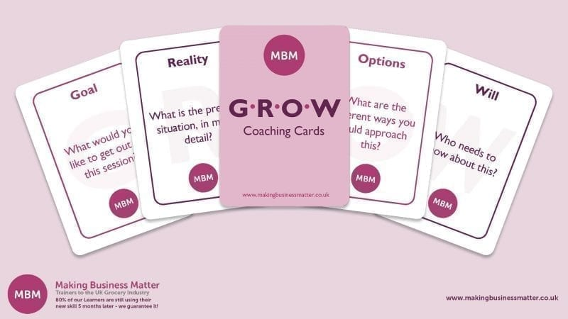 MBM banner with five GROW coaching cards fanned out across it