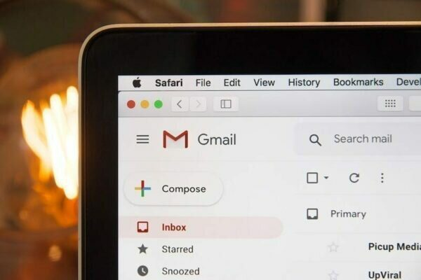 Corner of a laptop screen with Gmail open.