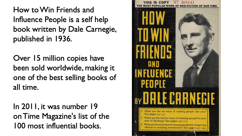 A book cover of How to Win Friends and Influence people by Dale Carnegie
