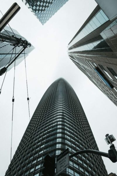 Worms eye view of tall buildings