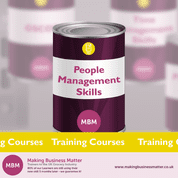 Purple tin with People Management Skills on the label