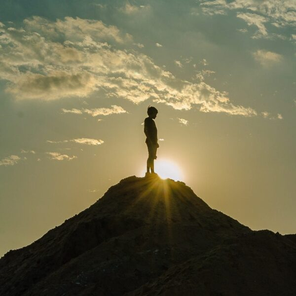 The man on top of a mountain