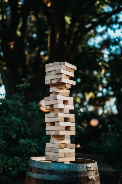Jenga blocks on top of a barrel