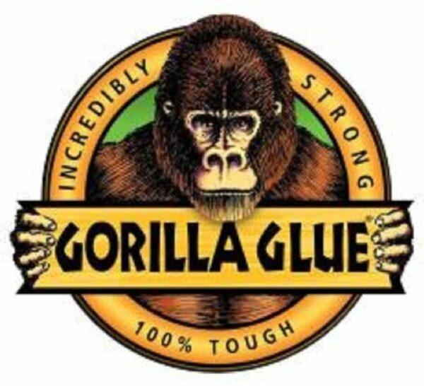 Logo with Gorilla holding sign that says Gorilla Glue