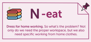 N-eat graphic, with folded clothes cartoon