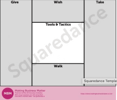 Template titled Squaredance with 4 sections greyed out