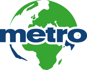 Word metro written in blue with Earth background