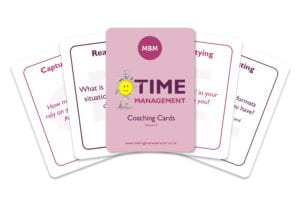 Five time management coaching cards from MBM