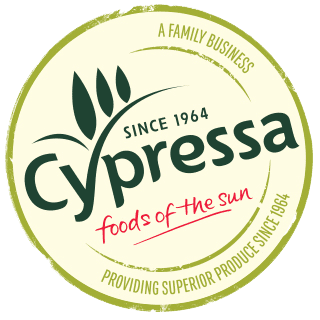The word Cypressa written in green in the middle of a light green circle