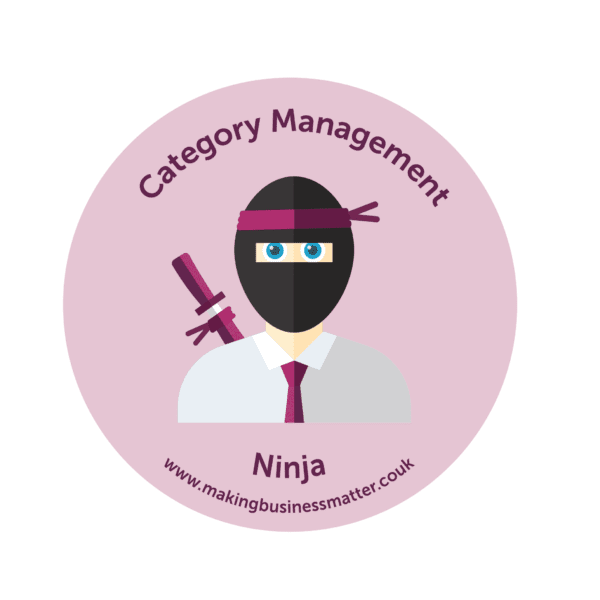 Cartoon ninja wearing a tie in a pink sticker