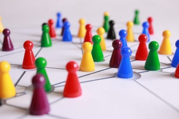 Several multi-coloured counters in a network