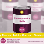 Purple tin with Communication Skills on label