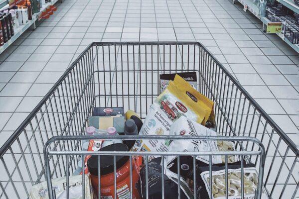 Shopper's view of a half full trolley