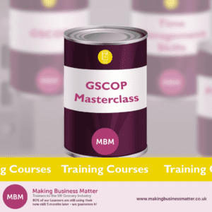 Purple can with GSCOP masterclass on label