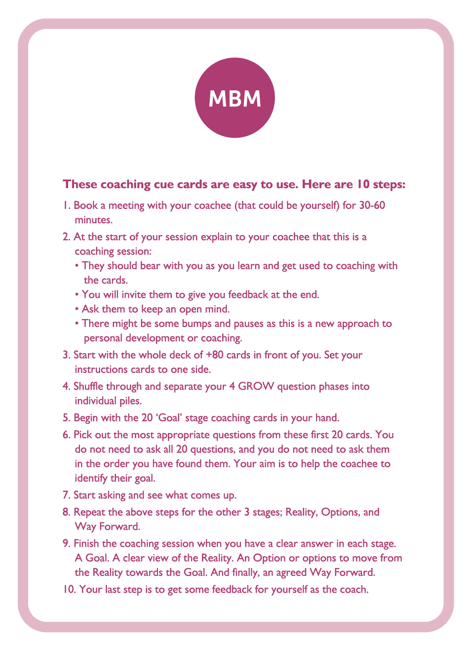 Coaching card with MBM logo titled 10 steps