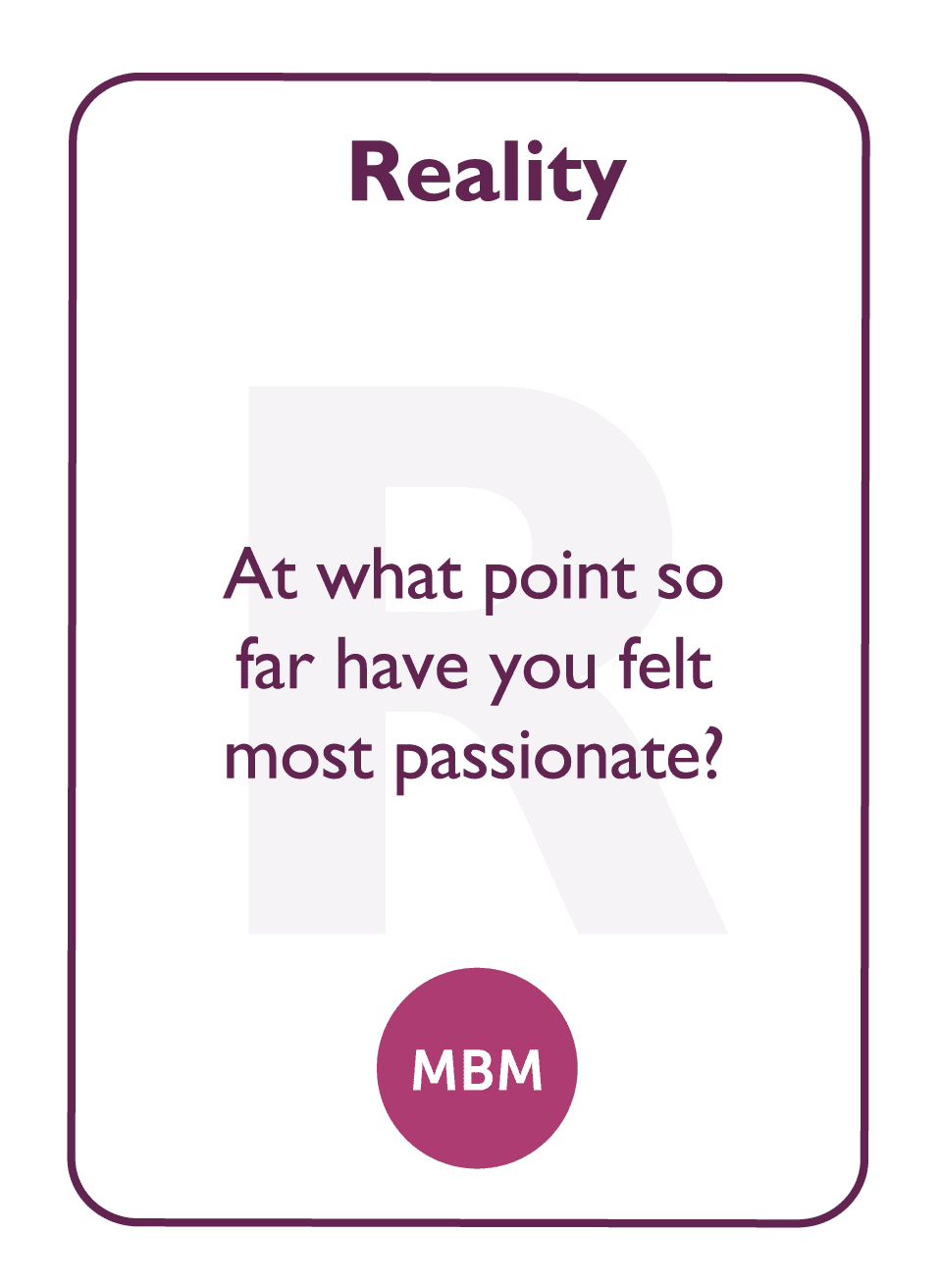 Coaching card titled Reality