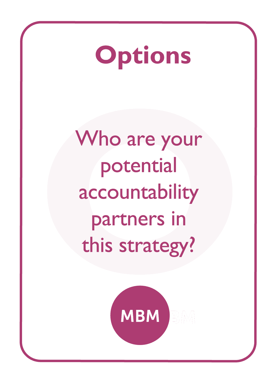 Coaching card titled Options
