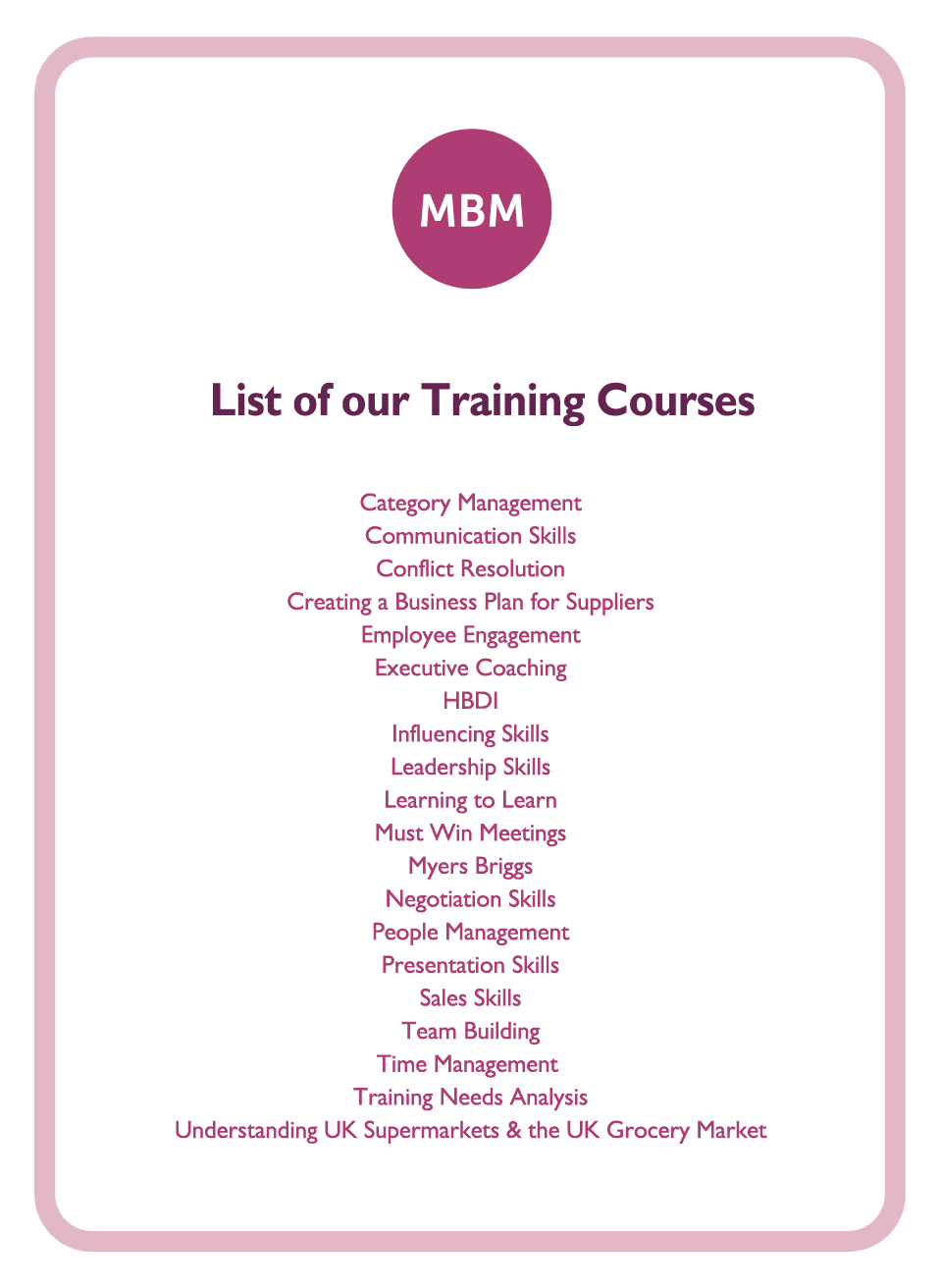 Coaching card titled List of Our Training Courses