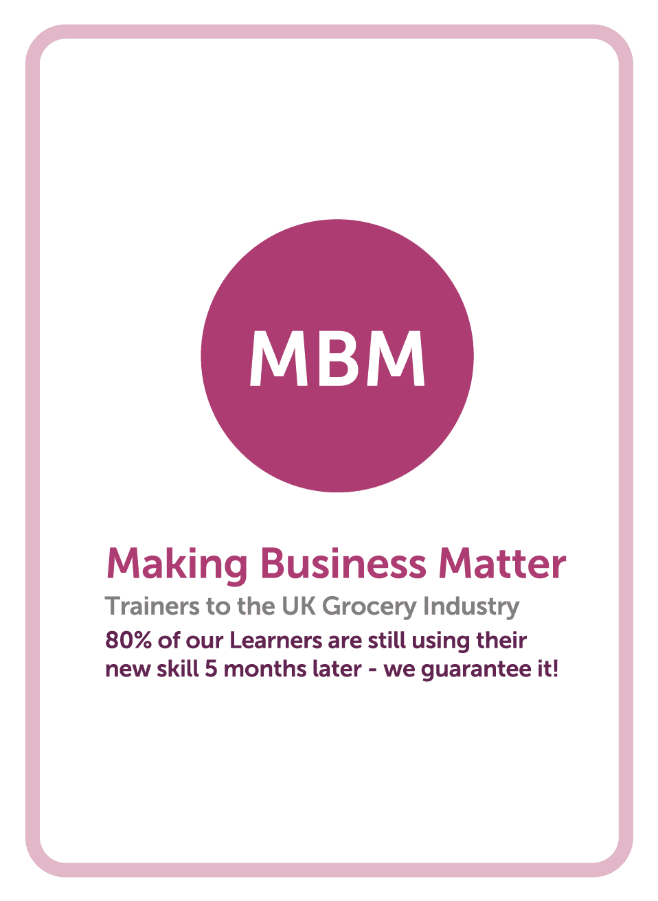 Category management coaching card titled MBM