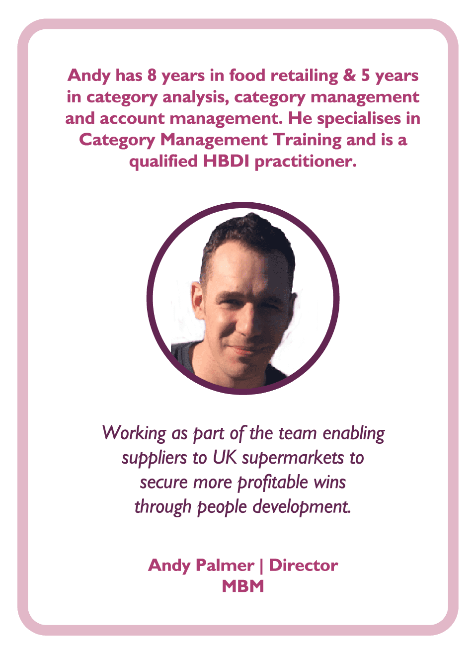 Category management coaching card Andy Palmer