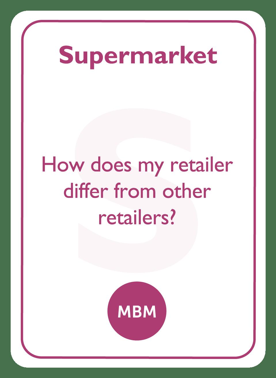 Negotiation coaching card titled Supermarket