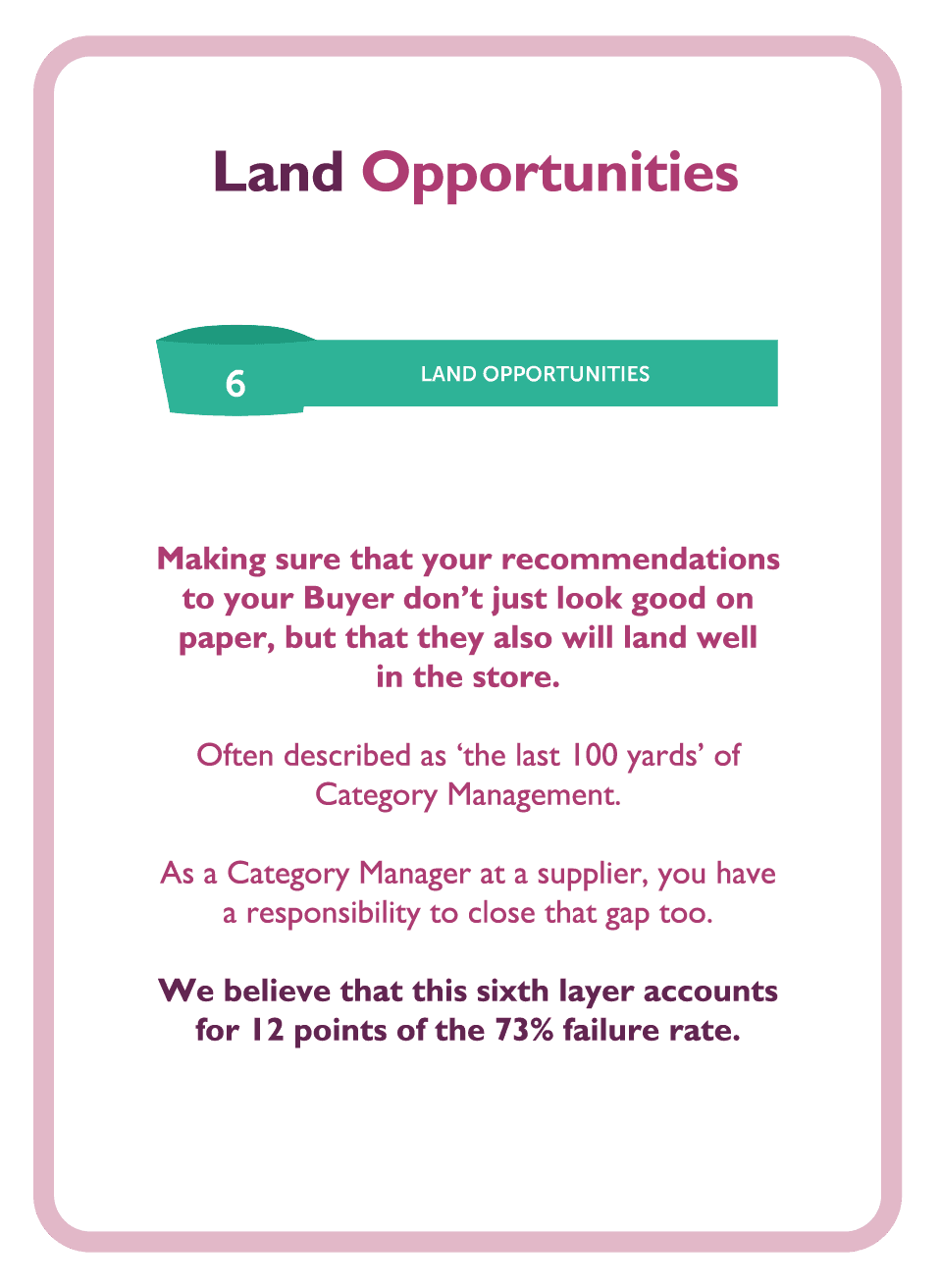 Negotiation coaching card titled Land opportunities