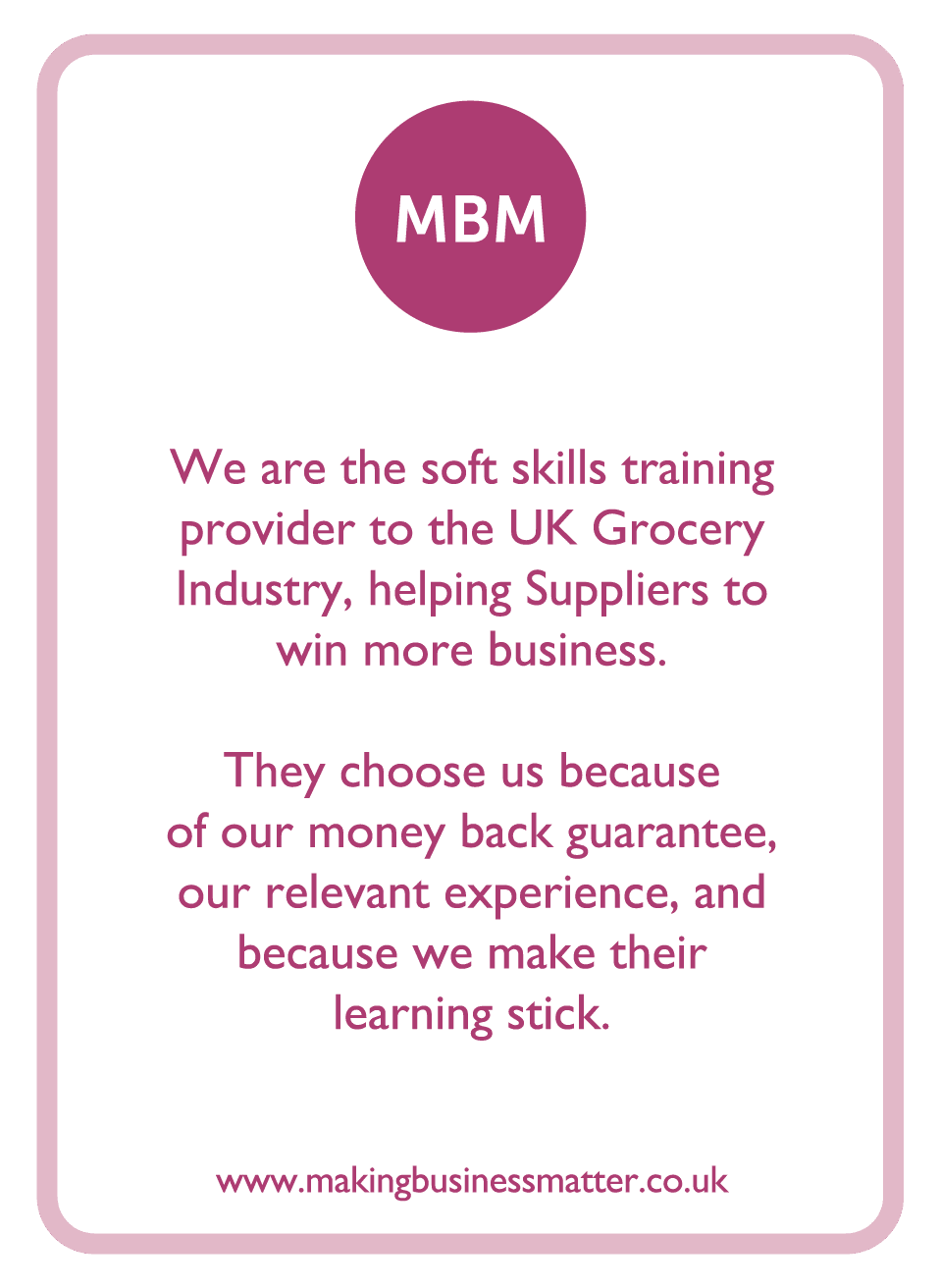 Coaching card with MBM info