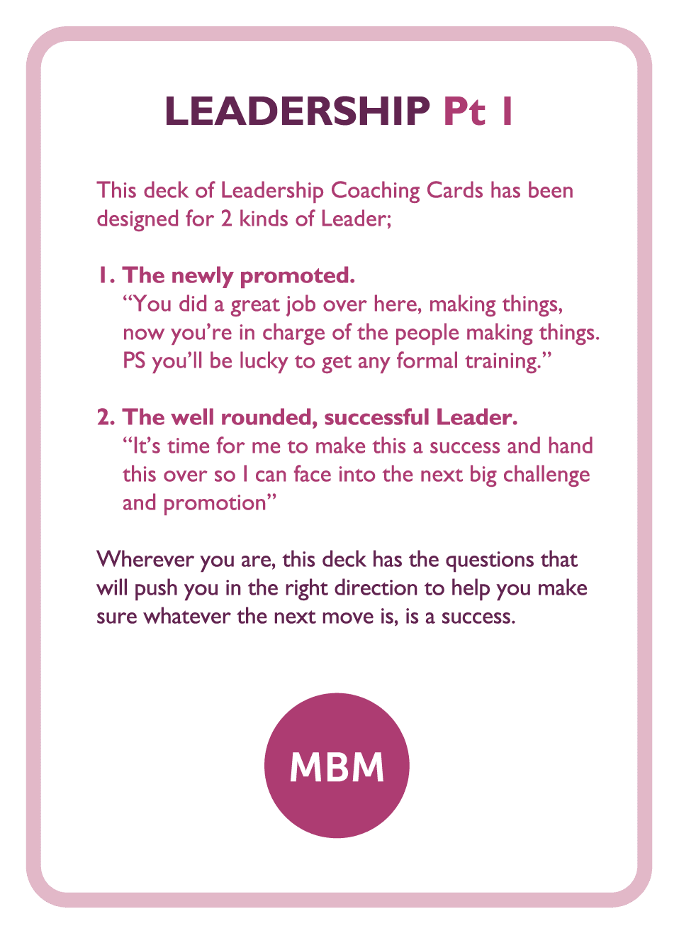 Coaching card titled Leadership Pt 1
