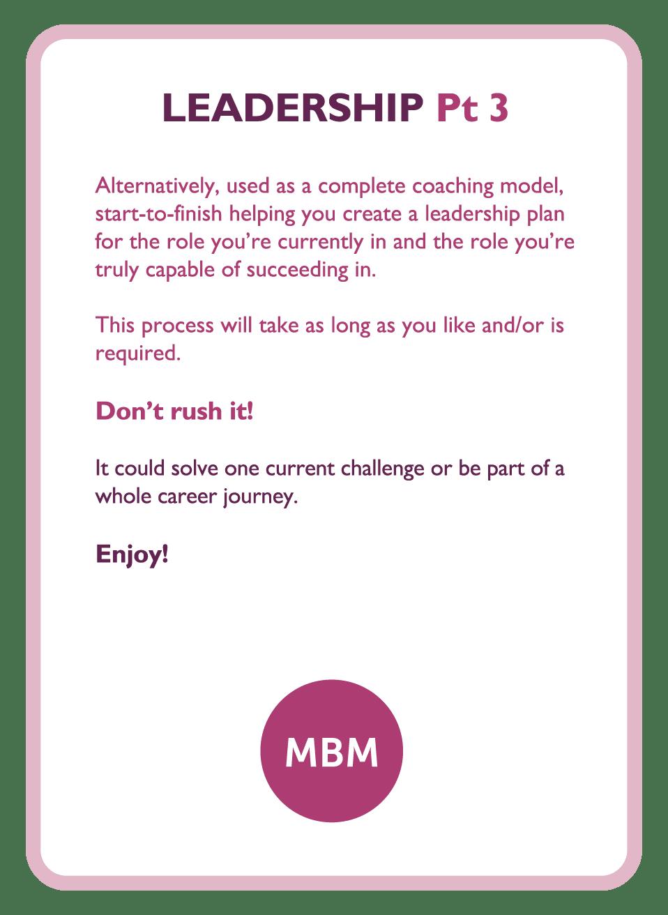 Coaching card titled Leadership Pt 3