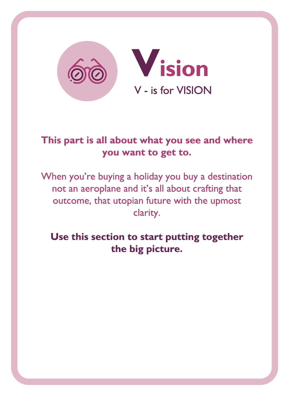 Coaching card titled Vision