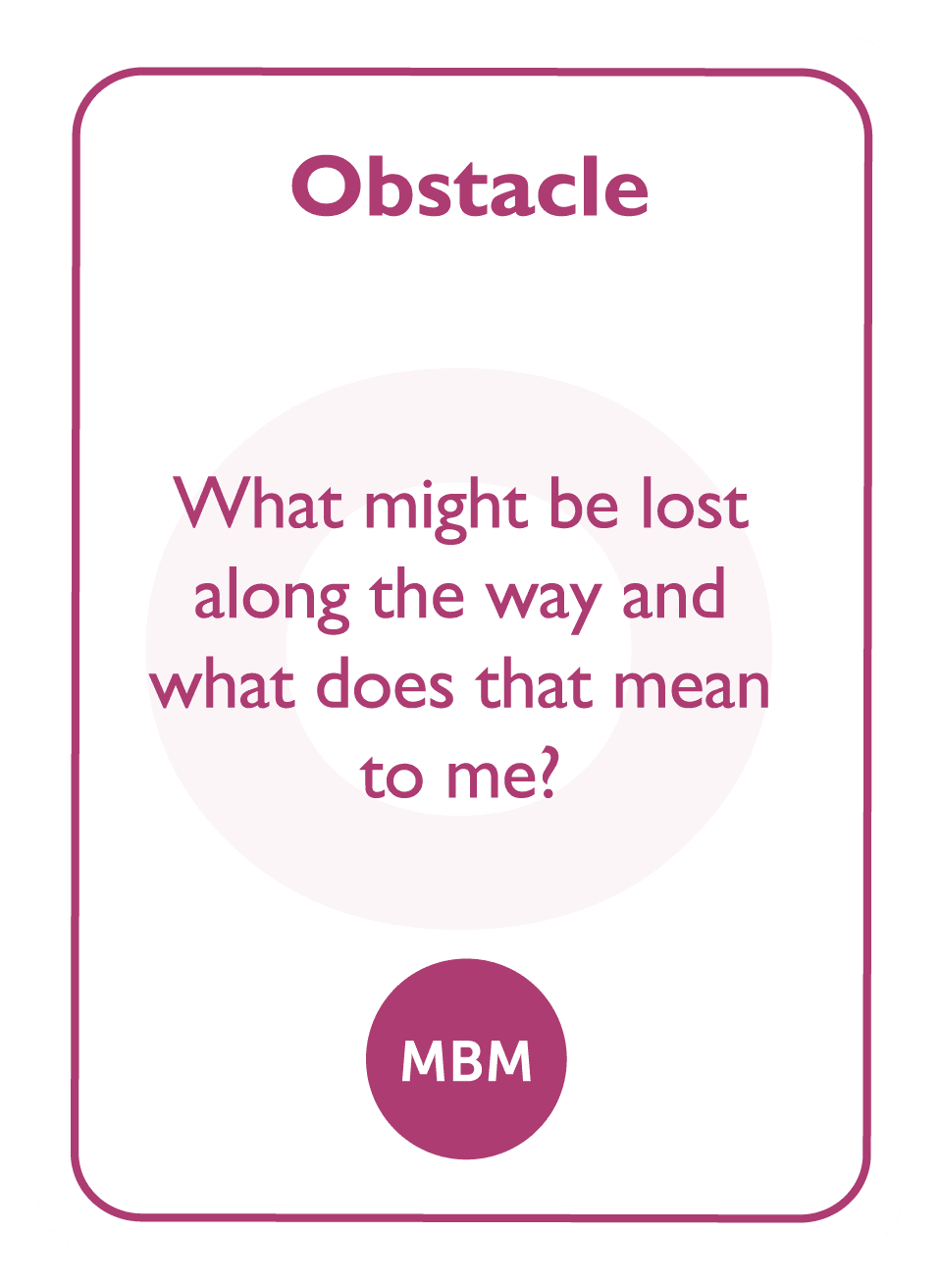 Coaching card titled Obstacle