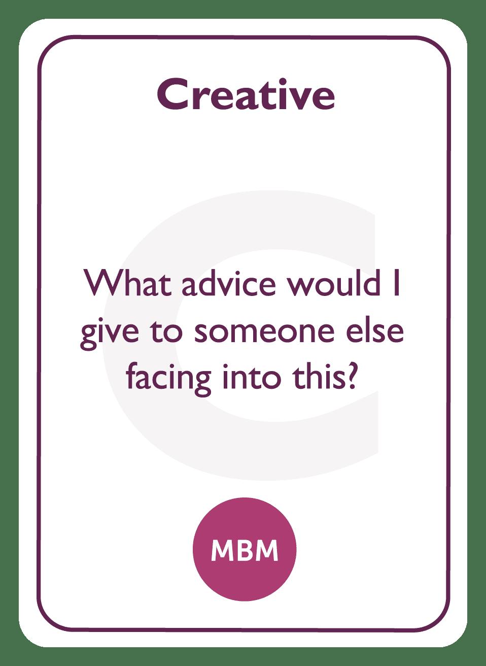 Coaching card titled Creative
