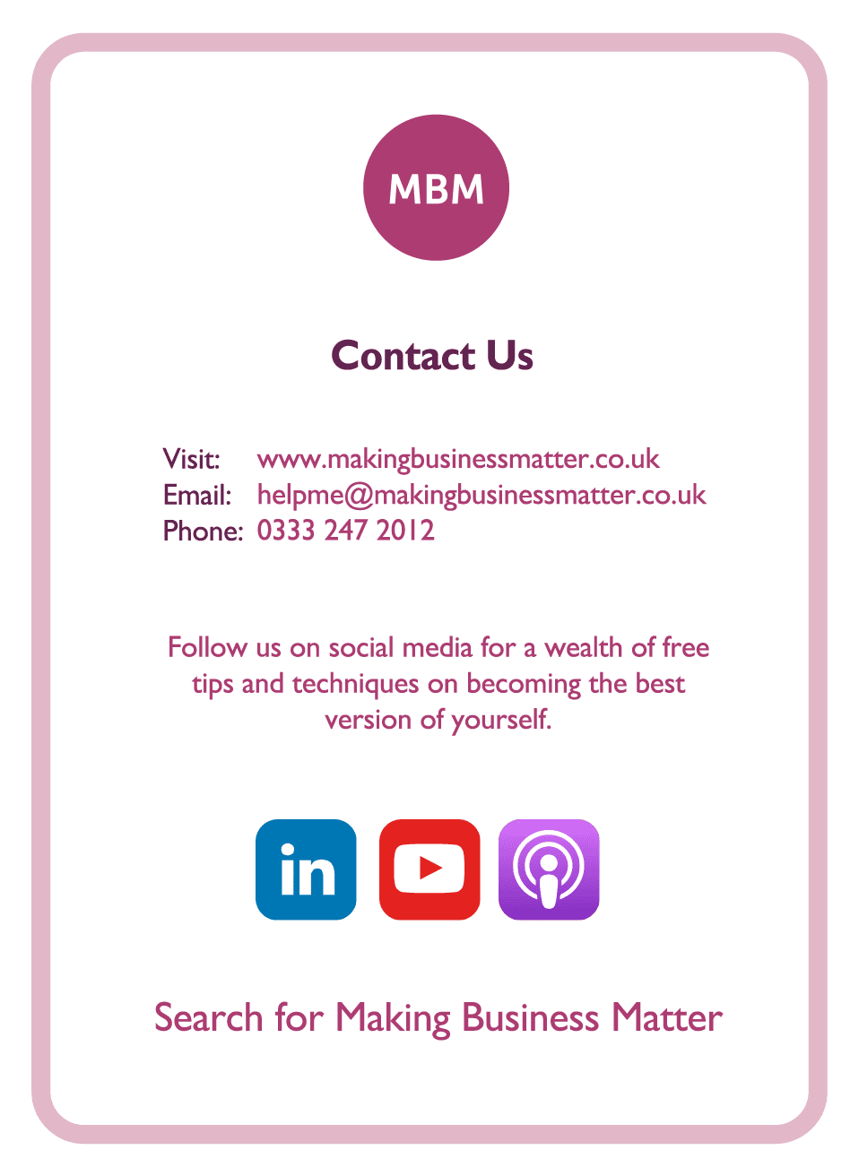 Coaching card titled Contact Us