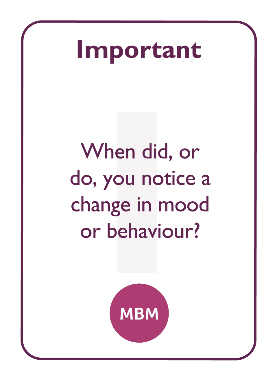 Coaching card titled Important