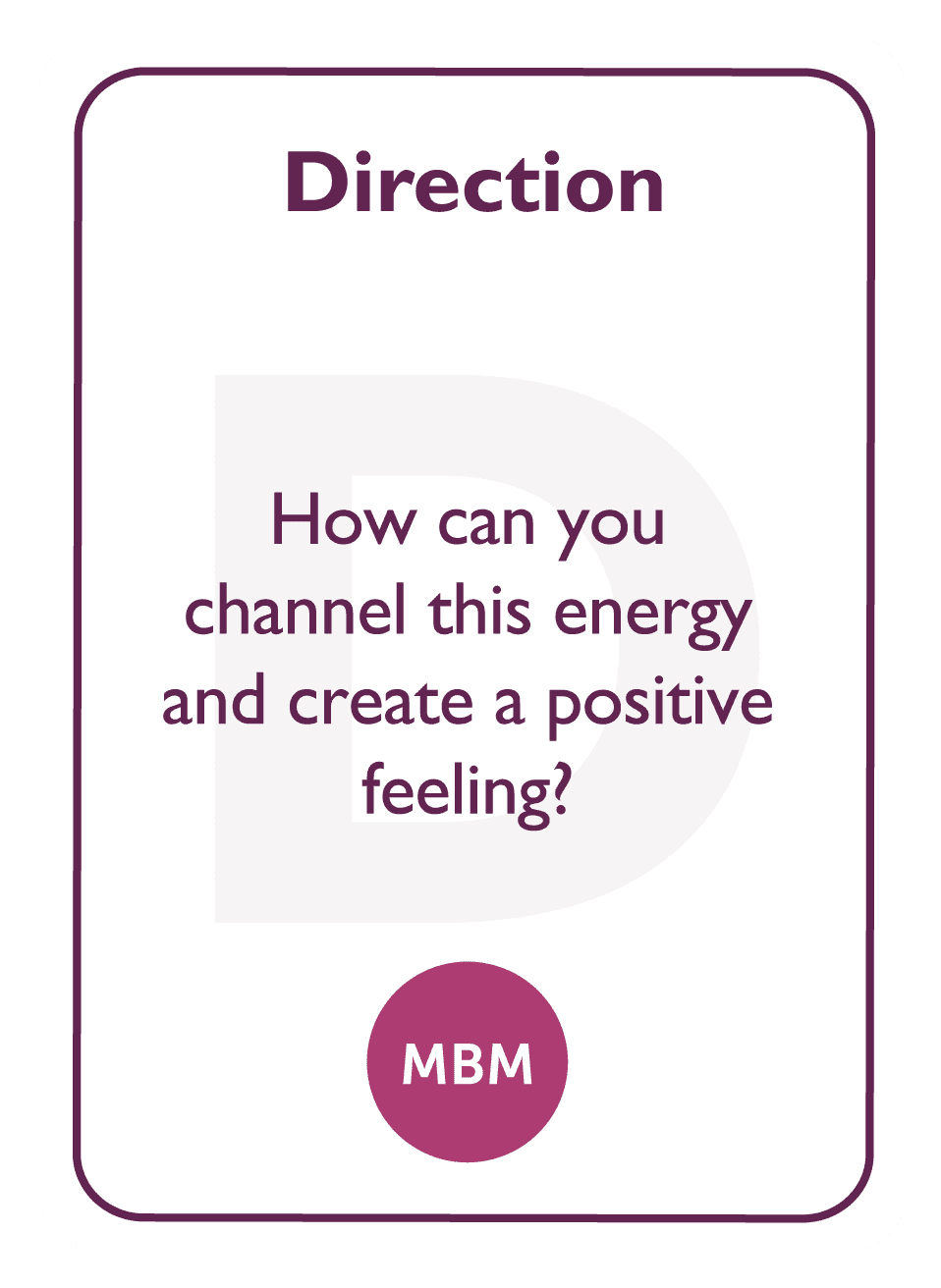 Coaching card titled Direction