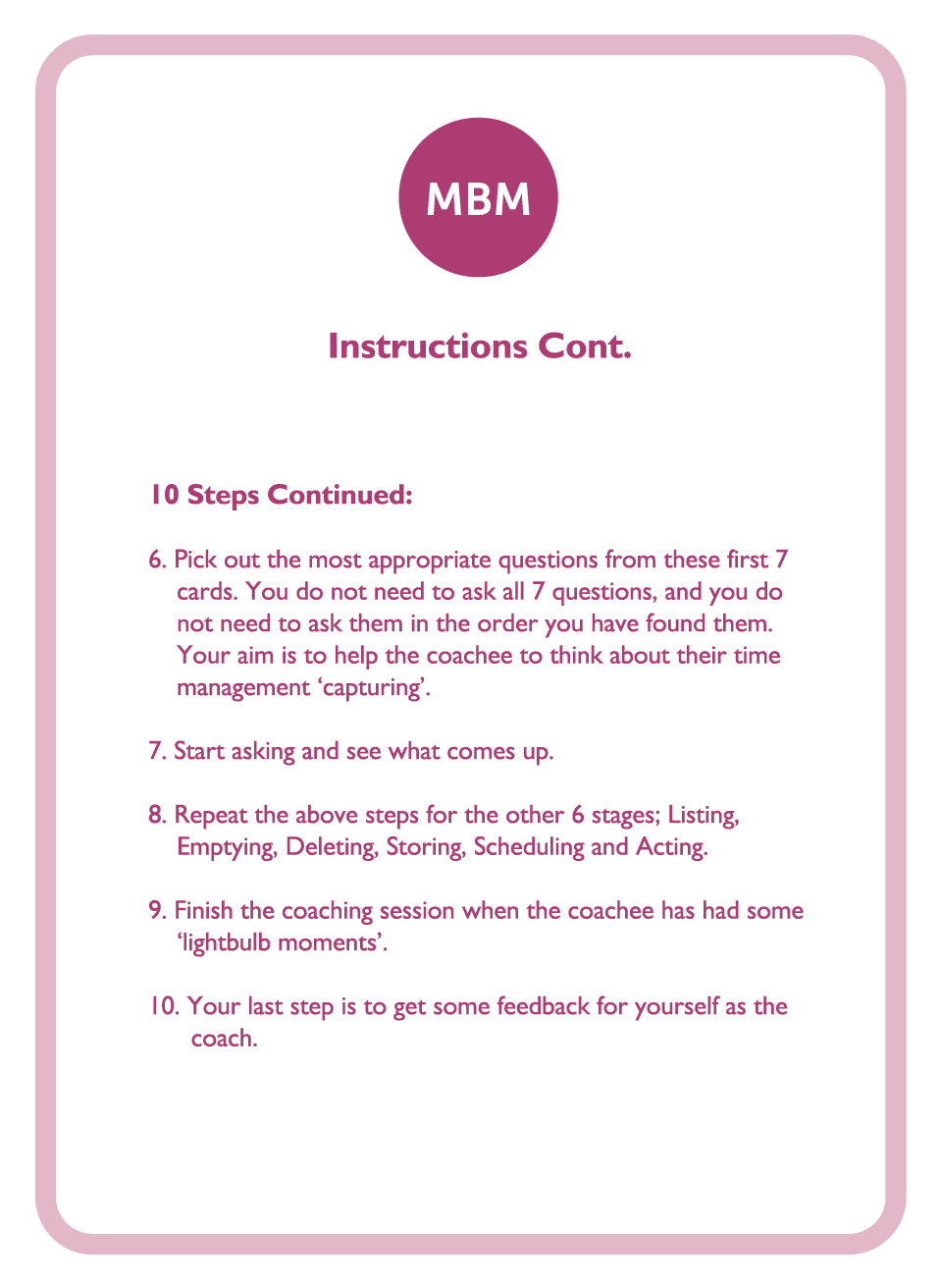Coaching cards instructions continued card