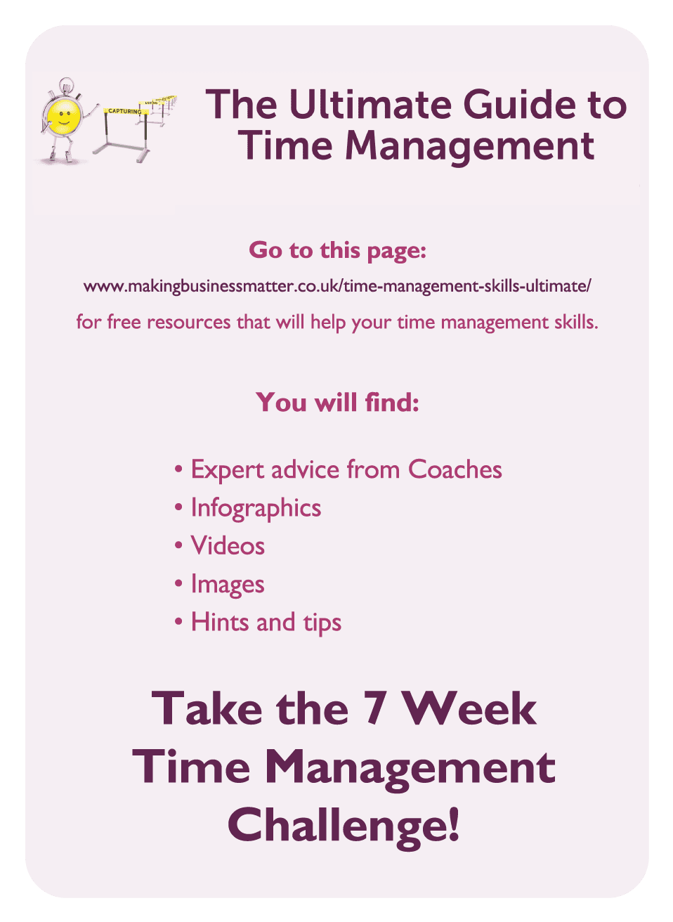 Coaching card titled The Ultimate Guide to Time Management