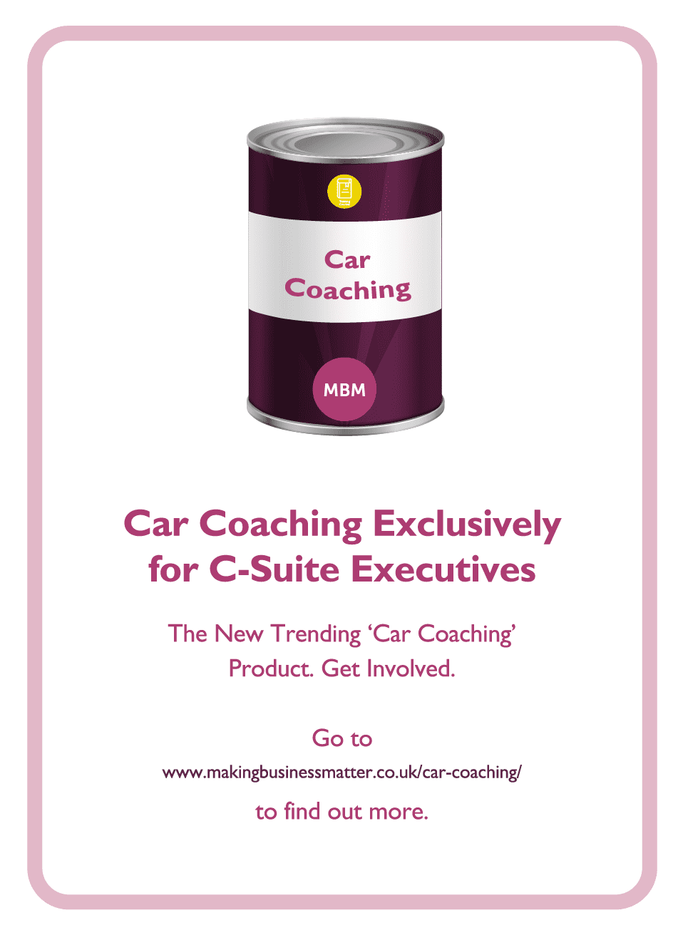 C-Suite coaching card with Car Coaching tin