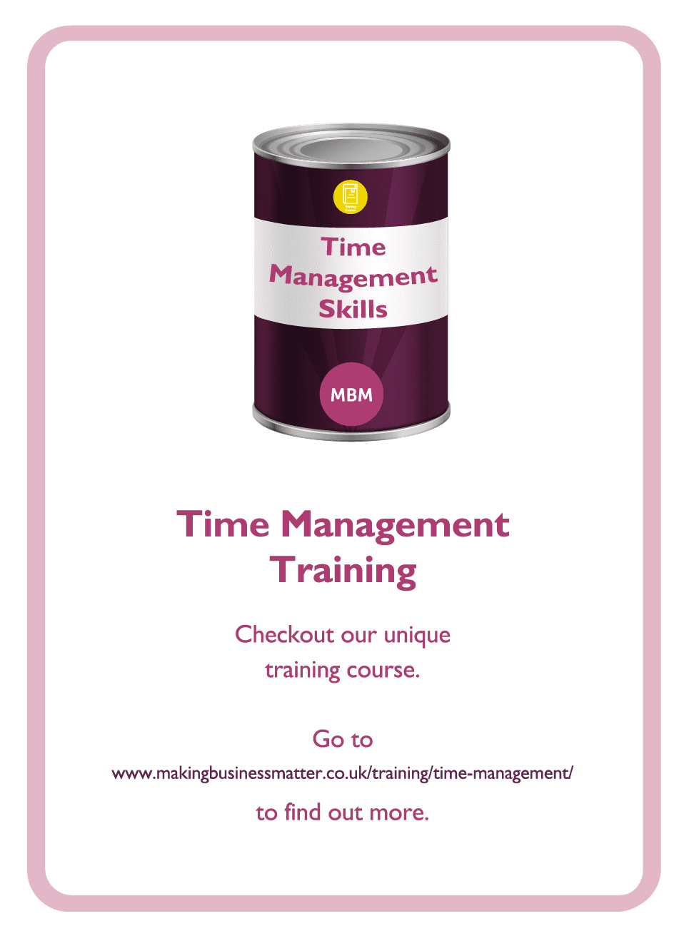 Coaching card with time management tin