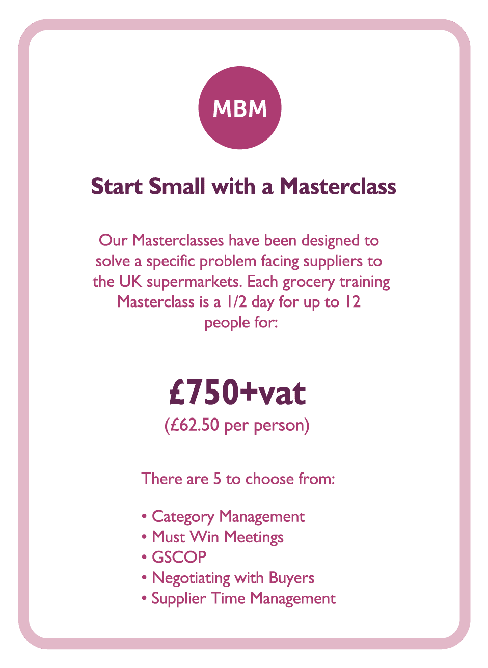 Coaching card titled Start Small with a masterclass