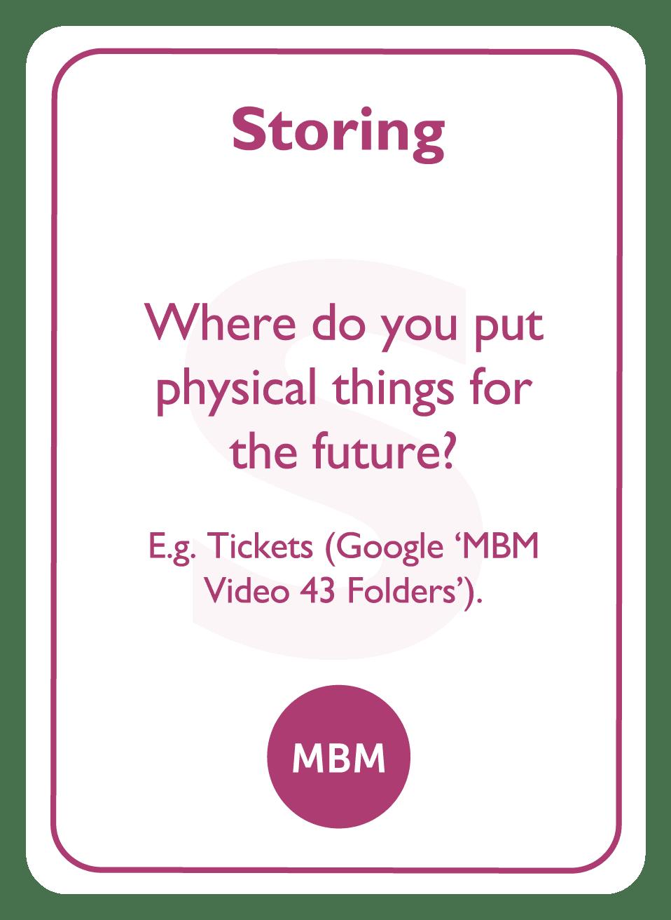 Coaching card titled Storing