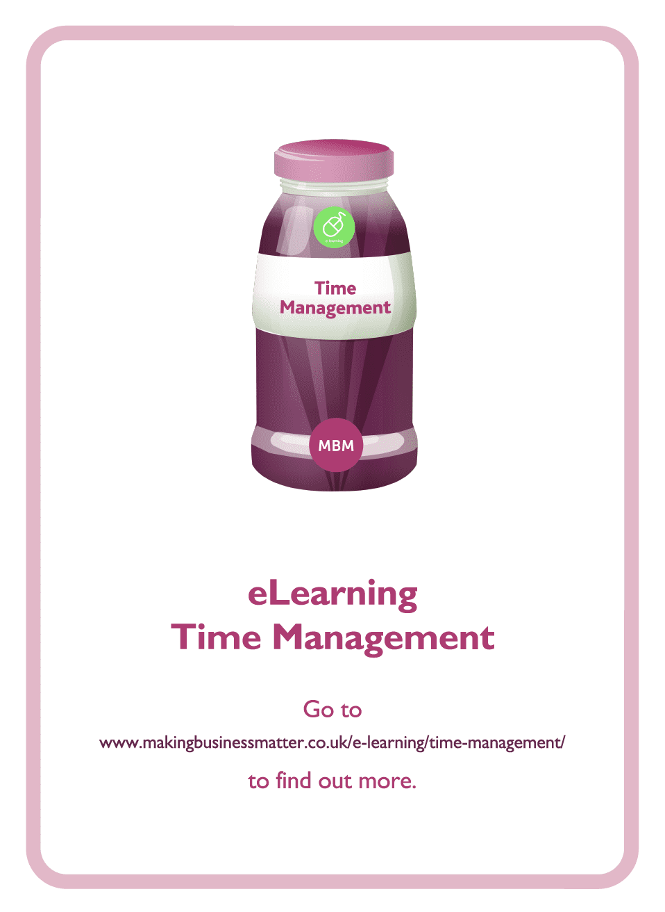 Coaching card with Time management bottle on it