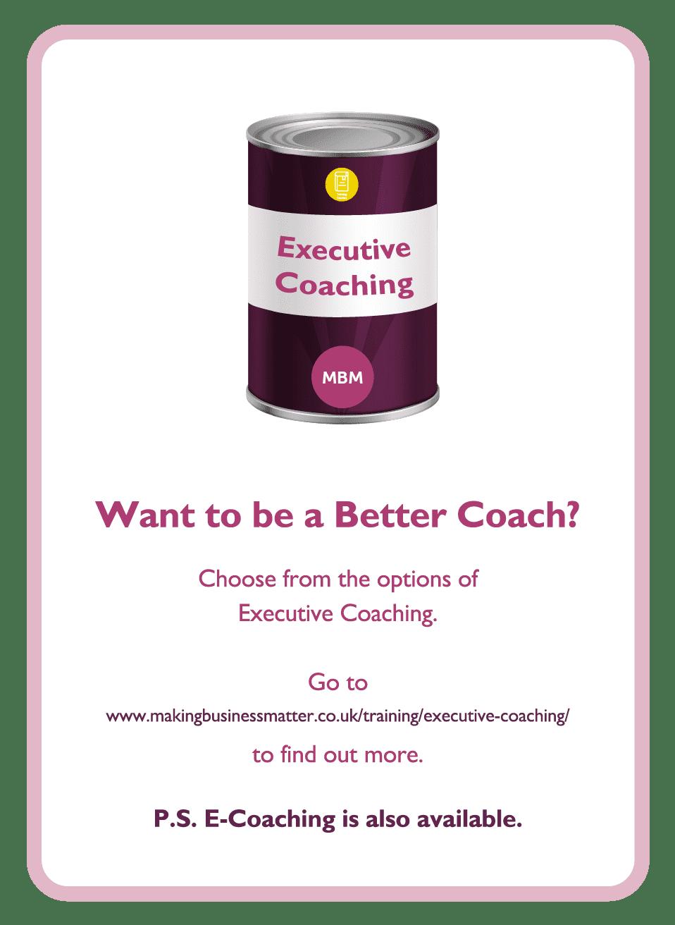 Coaching card with executive coaching tin on it