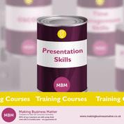 Purple tin with Presentation Skills on the label