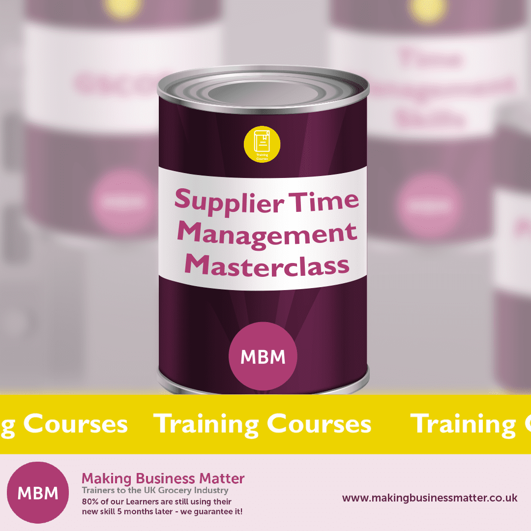 MBM banner advertising the Supplier Time Management Masterclass