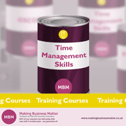 Purple tin with Time Management Skills on table