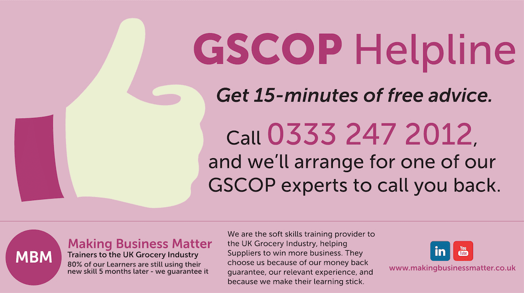 MBM infographic for the GSCOP helpline with thumbs up icon