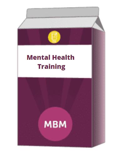 Purple carton with Mental Health Training on label